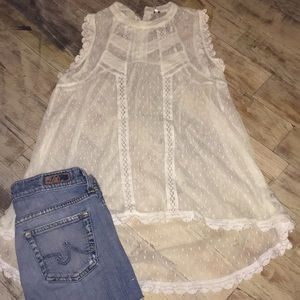 Ethereal Free People High neck Lace Top Xs